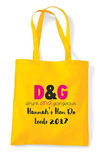 Personalised Tote Shopper Yellow Customised Do And Hen Parody Party Drunk Gorgeous Bag v6q8wY