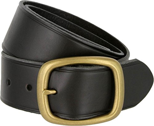 1.75 Inch Leather Casual Belt - Tennessee Brass Buckle Leather Work and Uniform Casual Jean Belt (Black, 40)
