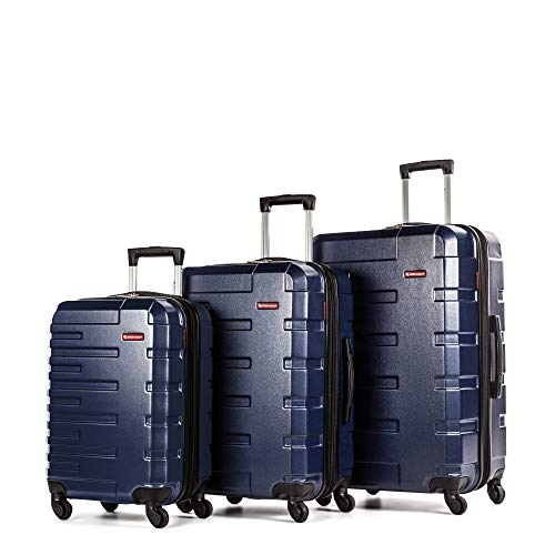 Swiss Mobility Quad Hard Sided 3 Piece Luggage Set Blue