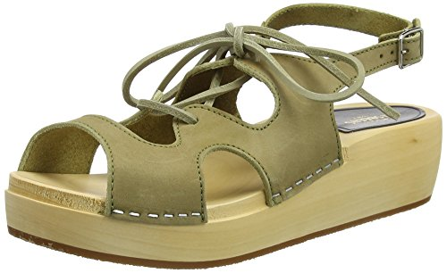 Swedish Hasbeens Lace Up Sandal, Zoccoli Donna Green (Military Green Nubuck)