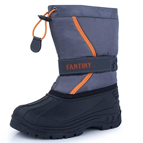 CIOR Snow Boots Winter Outdoor Waterproof with Fur Lined for Girls & Boys (Toddler/Little Kid/Big Kid) U118WXZ010,grayorange,30 (Toddler Size 12 Snow Boots)