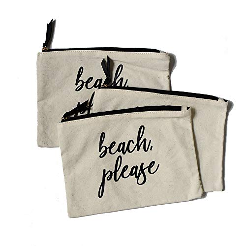 Makeup Cosmetic Storage Canvas Bags | Set of 3 | Perfect for bachelorette, travel organization, for her birthday gifts, pencil office pouches (3 pack, Beach Please)