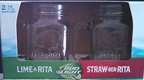 Bud Light LIME-a-RITA and STRAW-ber-RITA Mason Jar Glasses - 16oz