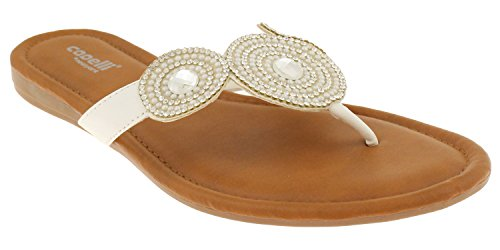 ies Flip Flops with Gems, Rhinestones, and Beaded Trim White 8 (White Flip Flops Rhinestones)