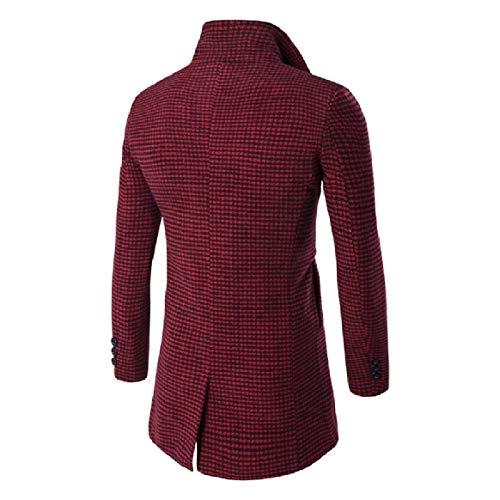 Long Md Men RkBaoye Color Plaid Woolen Down Overcoat Coat Collision 2 Turn Collar c84Fw0d4q