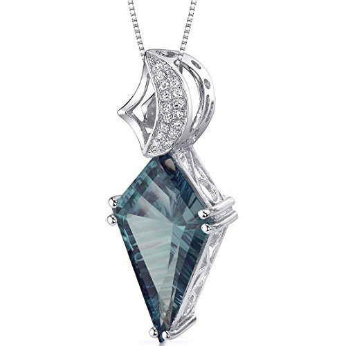 Kite Shape Large 8.00 carats Sterling Silver Simulated Alexandrite Pendant