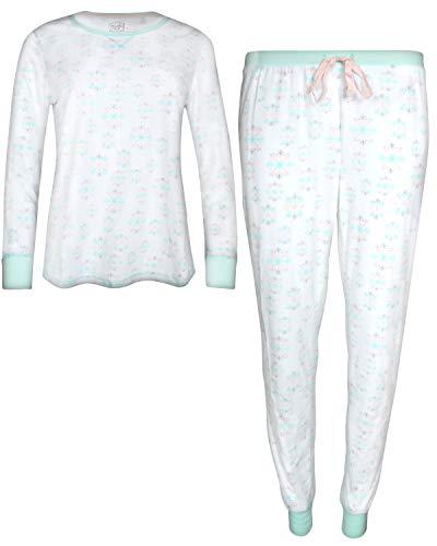Velour Snowflake - Pillow Talk Womans 2-Piece Velour Jogger Pajama Set, White Snowflake, Medium'