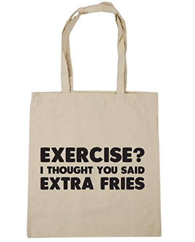 litres x38cm Thought Shopping I Fries Said Exercise You 10 Beach Tote Gym HippoWarehouse Bag Natural 42cm Extra OCFqZAn