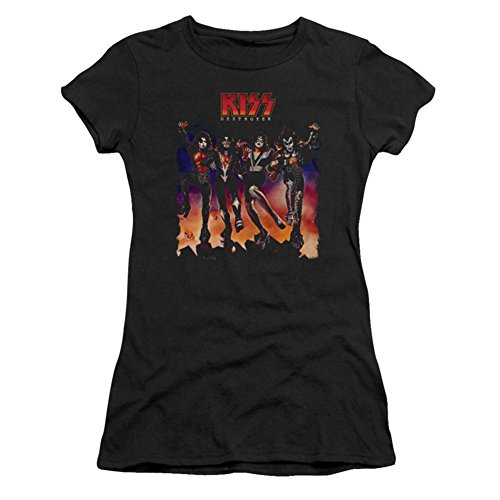 T shirt Juniors Cover Destroyer Kiss Black Sheer wIqRdX