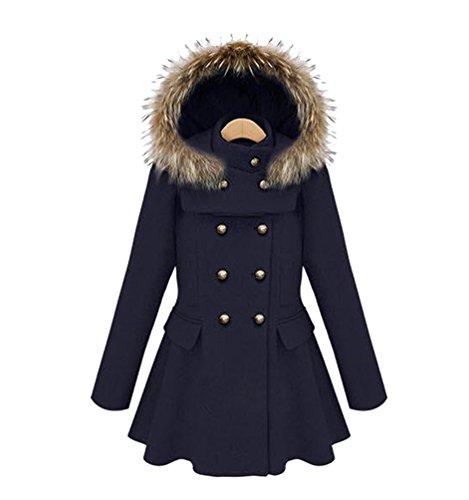 Capuche Mode Wanyang D'hiver Femmes Élégant Manches Veste Bleu Foncé Manteau Slim A Longues RTHRCq