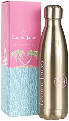 Lauren James Gold Tinted Luxury Stainless Steel Water Bottle Women S Fashion Designer Inspired Insulated Vacuum Sealed Sports And Travel Cooler Thermos 9 Oz Amazon Ae