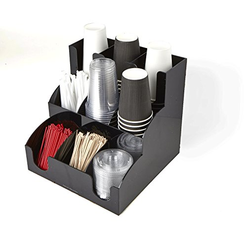 Mind Reader 9 Compartment Coffee Condiment and Accessories Organizer, Black by Mind Reader (Image #1)