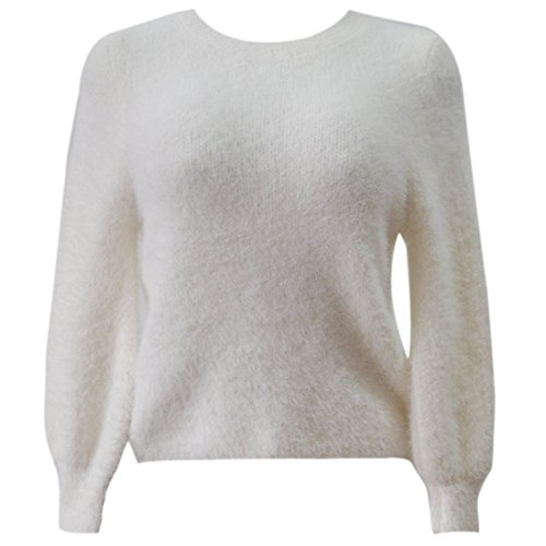 QIYUN.Z Atractiva De Las Mujeres Del Suéter De Manga Larga Jerseys De Punto Suéter De Cuello Redondo De La Felpa Crema