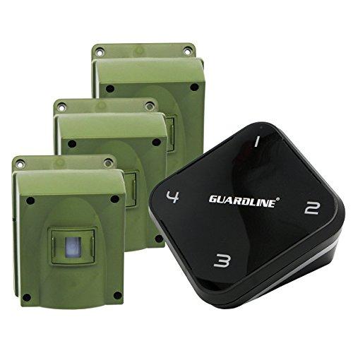 Perimeter Guard - 1/4 Mile Long Range Wireless Driveway Alarm w/Three Sensors Kit Outdoor Weather Resistan Motion Sensor/Detector- Best DIY Security Alert System- Protect Home, Perimeter, Yard, Garage, Pool