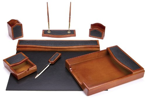 Majestic Goods Seven Piece Brown Oak with Black Eco-Friendly Leather and PU Desk Set by Majestic Goods