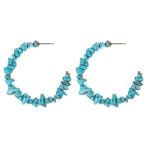 bjduck99 Women Ethnic Faux Turquoise Round Hoop Earrings Party Banquet Jewelry
