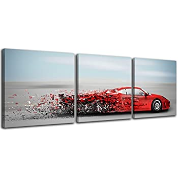 NAN Wind Abstract Red Speedy Car Wall Art Sports Car Canvas Prints Red Car and Clouds Cars Picture Print on Canvas 3 Panel Small Size Speed Blur Cars ...