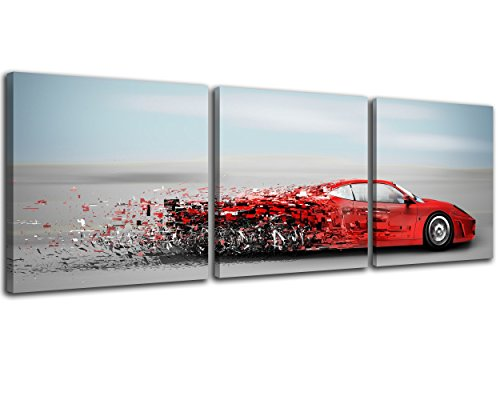 (NAN Wind Abstract Red Speedy Car Wall Art Sports Car Canvas Prints Red Car and Clouds Cars Picture Print on Canvas 3 Panel Small Size Speed Blur Cars Decorations for Boys Room Home Decoration)