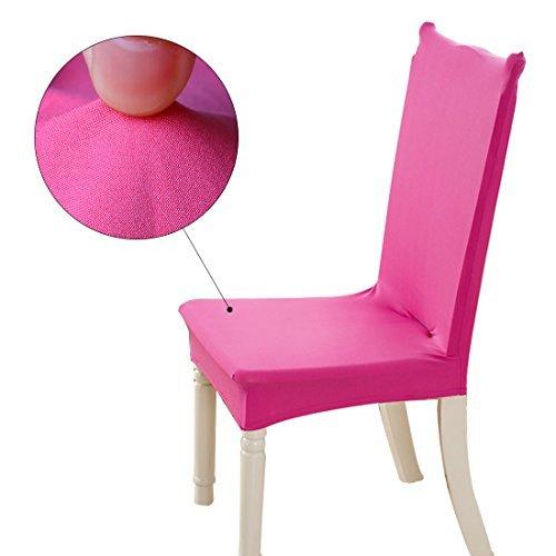 DealMux elstico removvel lavvel Curto Cadeira capa protetora do assento Slipcover para a festa de casamento Restaurante Banquete Home Decor Cadeira de jantar Cover (Fuchsia)