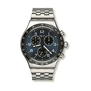 Swatch Men's YVS423G Boxengasse Analog Quartz Silver Steel Watch