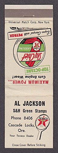 Sky Chief Texaco Gasoline Petrox Al Jackson Cascade Locks OR matchcover (Jackson Locks)