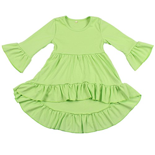 Yawoo Haan Toddler Girls 3/4 Sleeve Cotton Dresses Casual High Low Dress Green 6-7T