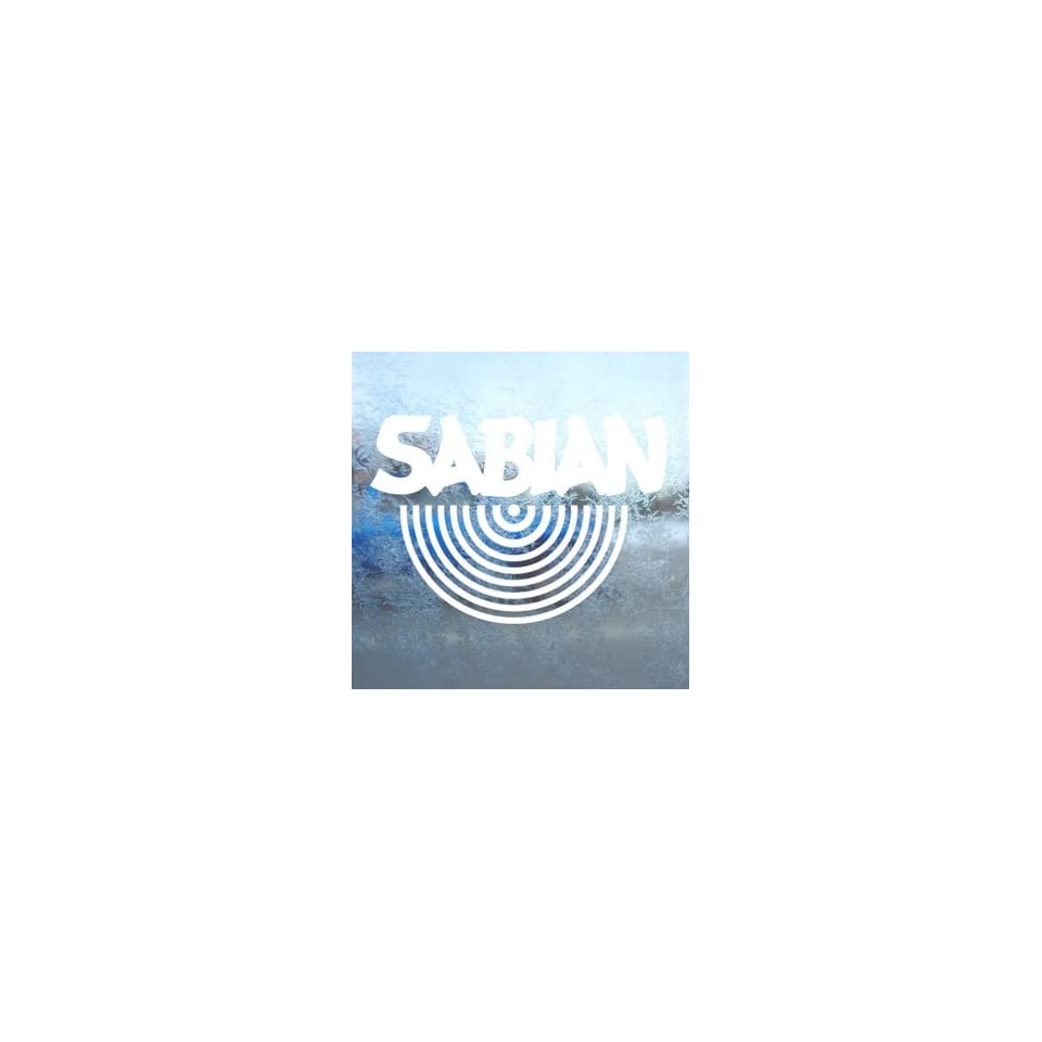 SABIAN CYMBALS White Decal Car Laptop Window Vinyl White Sticker