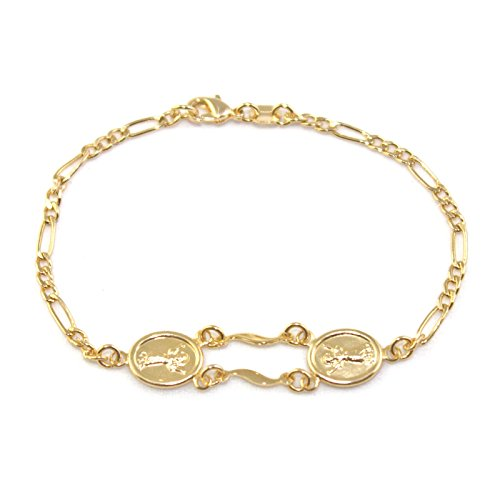 14k Bracelet Baby (14k Gold Filled Baby Christ Bracelet 5.5 inches Chain DIVINE CHILD Charms Child Toddler Kids by Jewelry Paradise Choose Your Size)