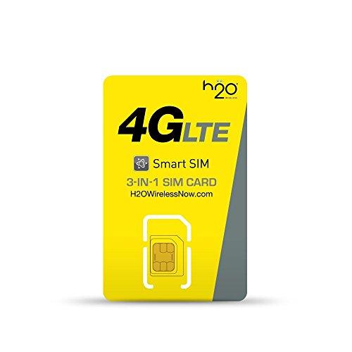 H2O Wireless Triple Cut Nano/Micro/Standard 4G LTE SIM Card - $30 Monthly Plan (H2o Wireless Nano Sim Card 4g Lte)