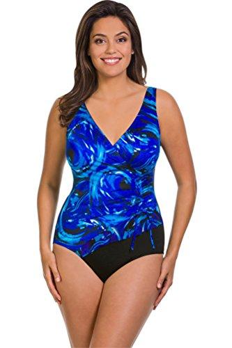 Longitude World Wind Plus Size Mesh Ruffle Surplice One Piece Swimsuit Size 16W by Longitude