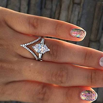 Amazon Com Dunnomart 2pcs Silver Copper Crystal Rings Set Women