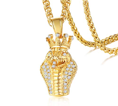 PJ Jewelry Gold Plated Stainless Steel Crystal Big King Cobra Snake Pendant Necklace for Men,24