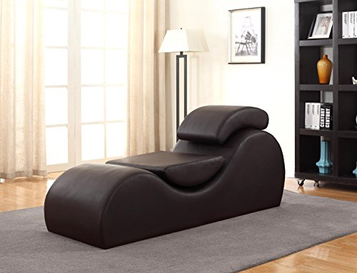 Container Furniture Direct Devon Collection Modern Faux Leather Upholstered Stretch and Relaxation Living Room Chaise Lounge, Dark ()