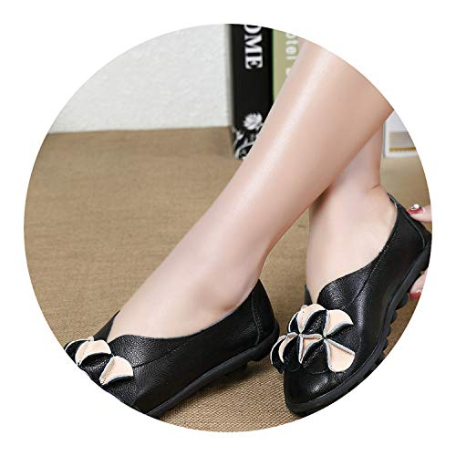 Leather Female 158 New Shoes Genuine Round Black on Flats Flats Flats flat A158 Shoes Slip platform Loft Ballerina Toe Ballet sandals women shoes gqga0xCw