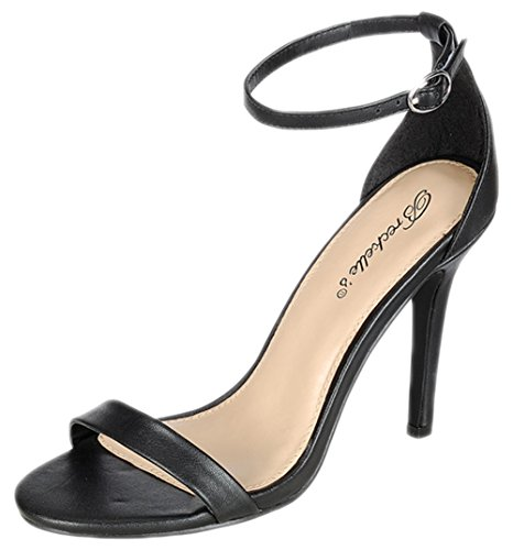 Breckelle's Women's Sydney-45 Stiletto Open Toe Dress Ankle Strap Stiletto Heel Sandal
