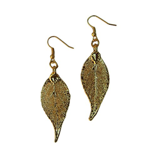 24k Gold Dipped REAL Long Evergreen Leaf, Gold Plated Lea...