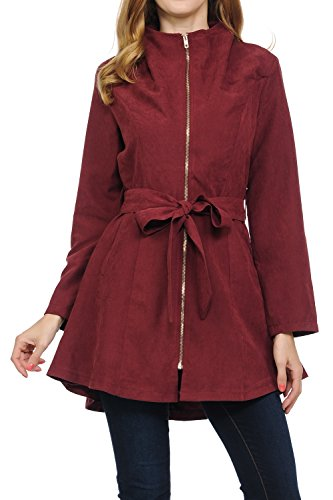 (Auliné Collection Womens Peach Skin Asymmetrical Belted Lightweight Anorak Jacket with Zip Burgundy S)