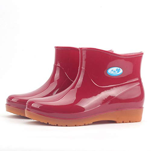 Rubber Rain Boots for Women,Waterproof Rain and Garden Boot with Comfort Insole Low Heel Round Toe Shoes (Red, US 6) ()
