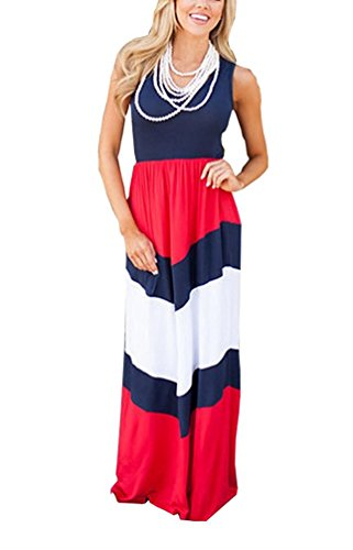 Demetory Women`s Chevron Zig Zag Wave Striped Tank Top Maxi Dress (U4-6/Asian S,#1214 Red 2)