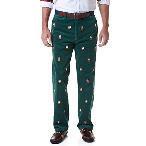 (Castaway Clothing Beachcomber Corduroy Pant in Hunter with Embroidered Santa Stuck in Chimney Final Sale)