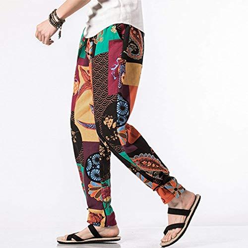 Tempo Stile Vintage c3 Uomo Hippie Etnico Pantaloni Stampa Da Beach Colour Lanceyy Patchwork Estate Semplice Libero Pants wRI0qxPx