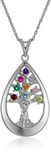 Sterling Gemstone Teardrop Pendant Necklace