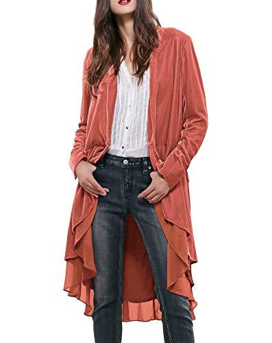 - R.Vivimos Womens Ruffled Asymmetric Long Velvet Blazers Coat Casual Jackets (Medium, Coral)