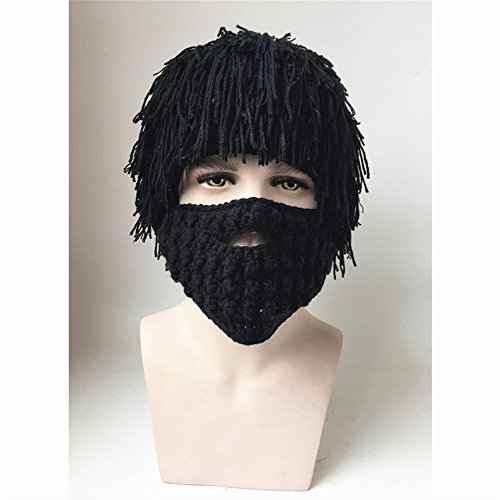 Costume Alpinestars (Jenny Shop Beard Wig Hats Handmade Knit Warm Winter Caps Men Women Kid (Black, Adult))