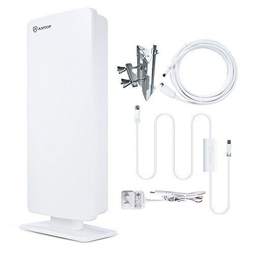 ANTOP Flat Panel Outdoor/Indoor Digital TV Antenna with Smartpass Amplified and Built-in 4G LTE Filter-80 Miles Long Range Multi-Directional Reception