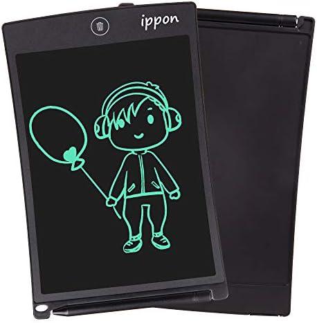 IPPON LCD Schreibtafel 8,5 Zoll, Handschrift Notizblock, Zeichnung Boards Schreibtafel für Kinder & Erwachsene, Schreib und Skizzen Pad für Schule und Büro(Black)