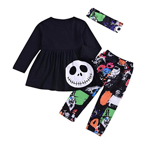 Sinfu Dress for Toddler Baby Girls Ghost Dresses Striped Pants Halloween Costume Outfits Set (18-24 Months, Black B) ()