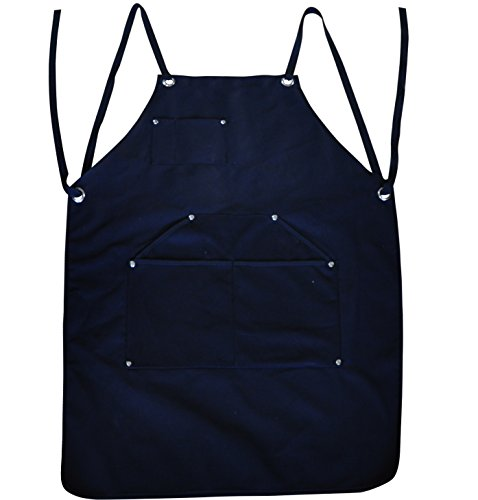 BroilPro Accessories Durable Goods - Deluxe Edition - Waxed Canvas Tool Apron - Upgraded with Padded Straps, Quick Release Buckle & Dual Hammer Loops, Adjustable M to XXL ()