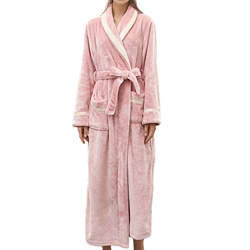 VOYOAO Womens Plush Robes Dressing Gown Soft Full Length Kimono Bathrobe (2XL-large/3XL-Large,Pink) ()