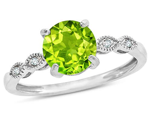 Star K Round 7mm Genuine Peridot Vintage Antique Look Engagement Promise Ring 14 kt White Gold Size 8